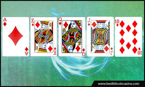 Get the royal flush in Bitcoin video poker