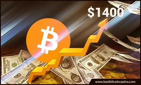 Bitcoin reaches $1,400 the highest Bitcoin price in history