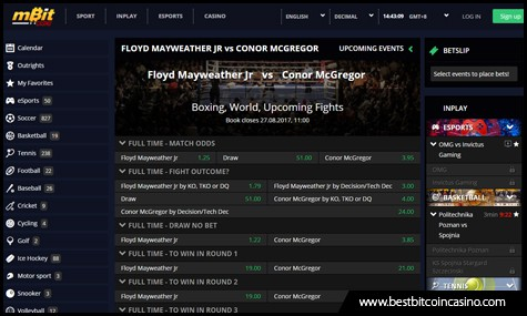mBit Casino offers a sportsbook for Bitcoin bettors