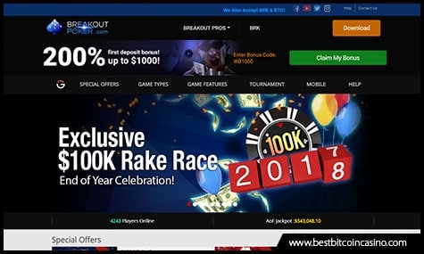 Breakout Poker accepts BRK coin